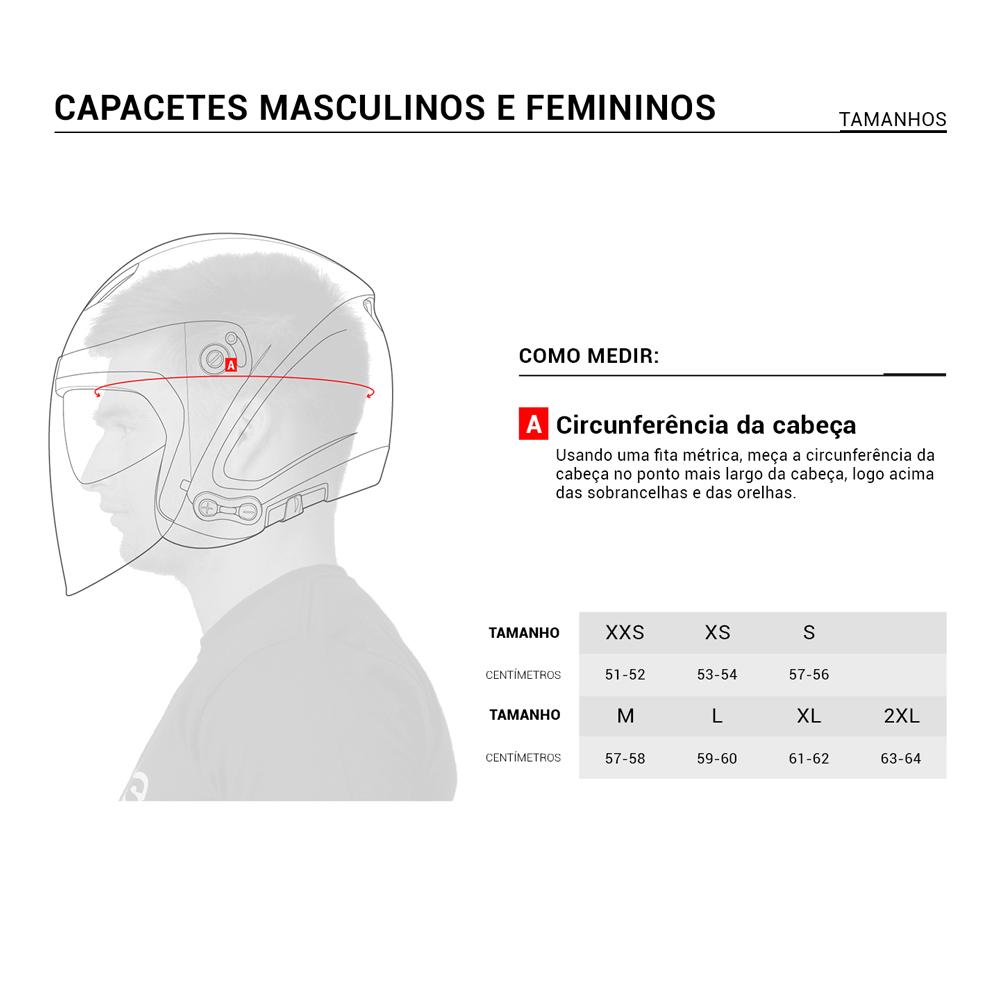 guia de medidas capacetes