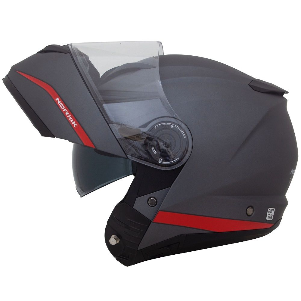 capacete-norisk-force-simplicity-cinza-vermelho-escamoteavel