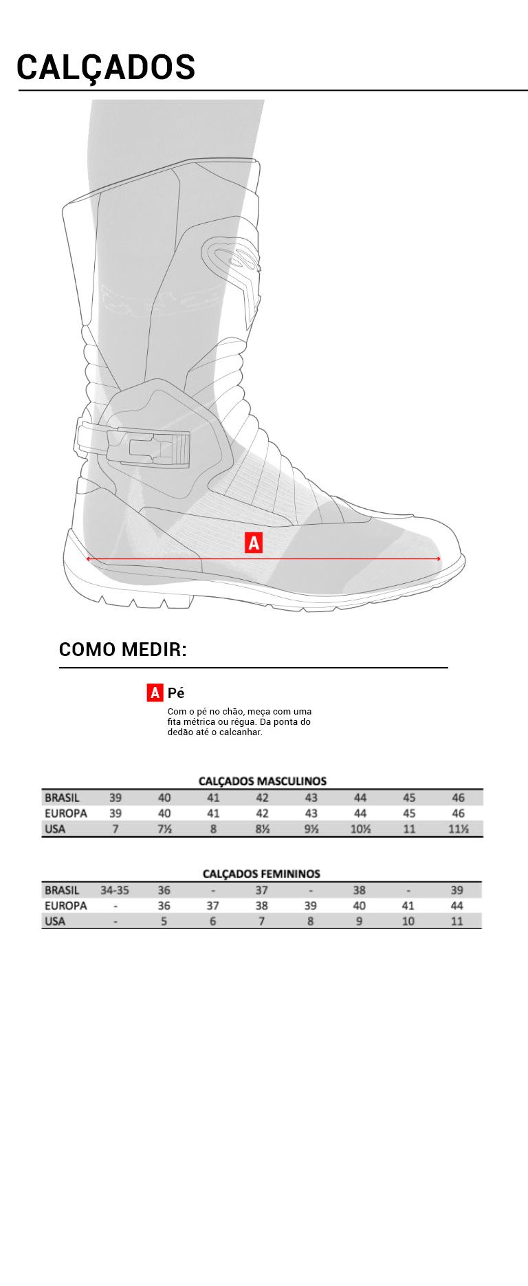 guia de medidas calçados mobile