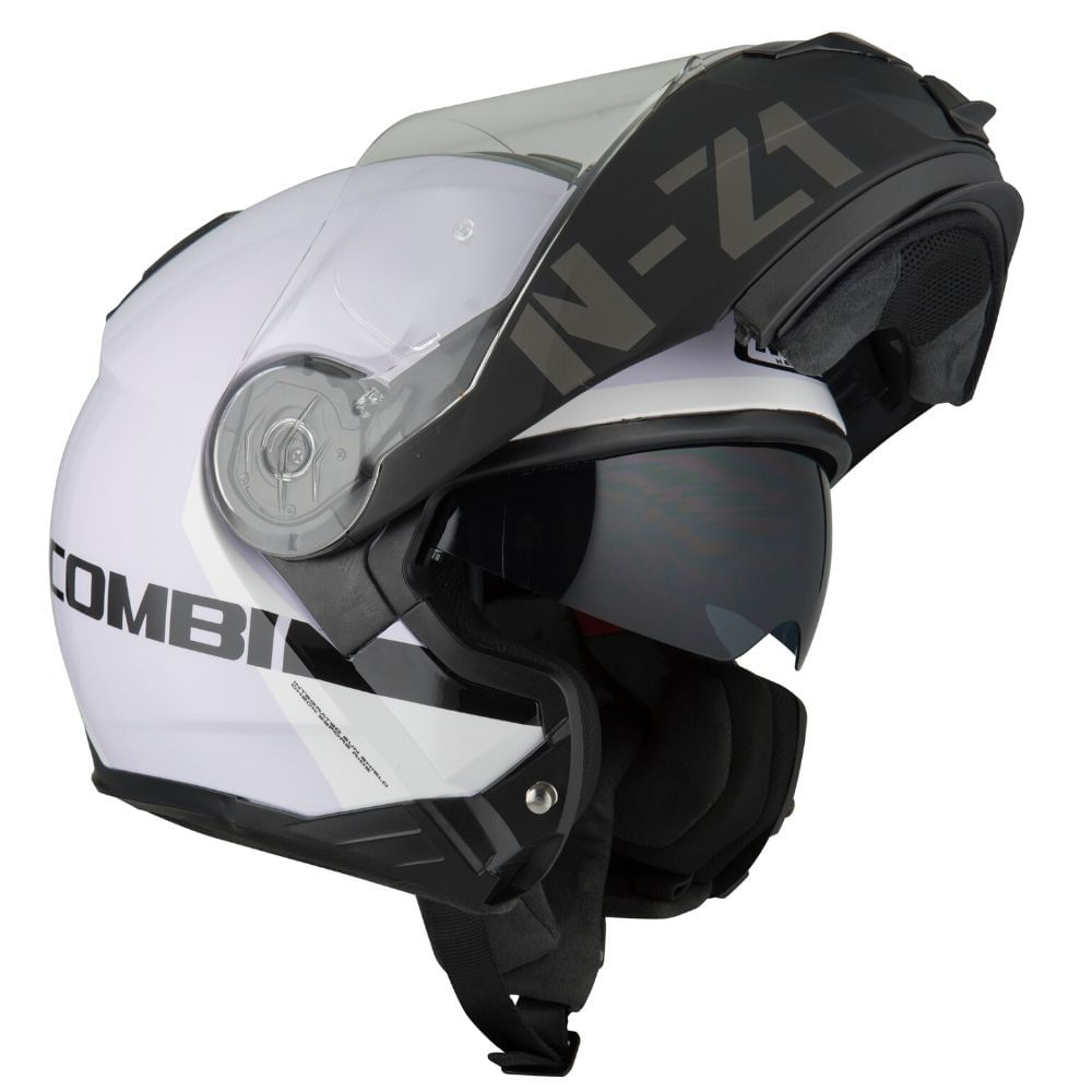 Capacete-NZI-Combi2-Duo-Flydeck-Branco-Preto