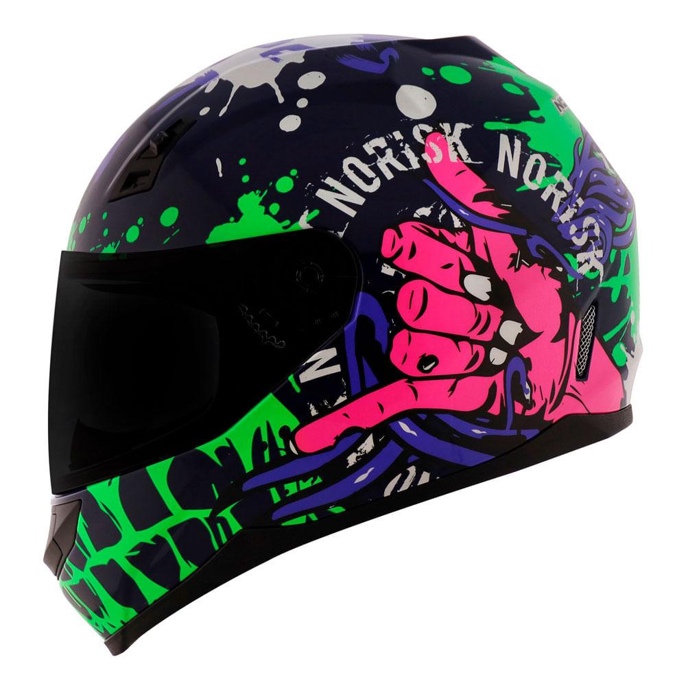 Capacete-Norisk-FF391-Zombie-Azul-Verde-Rosa