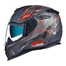 Capacete-Nexx-SX-100-Gigabot-Cinza-Vermelho-Fosco