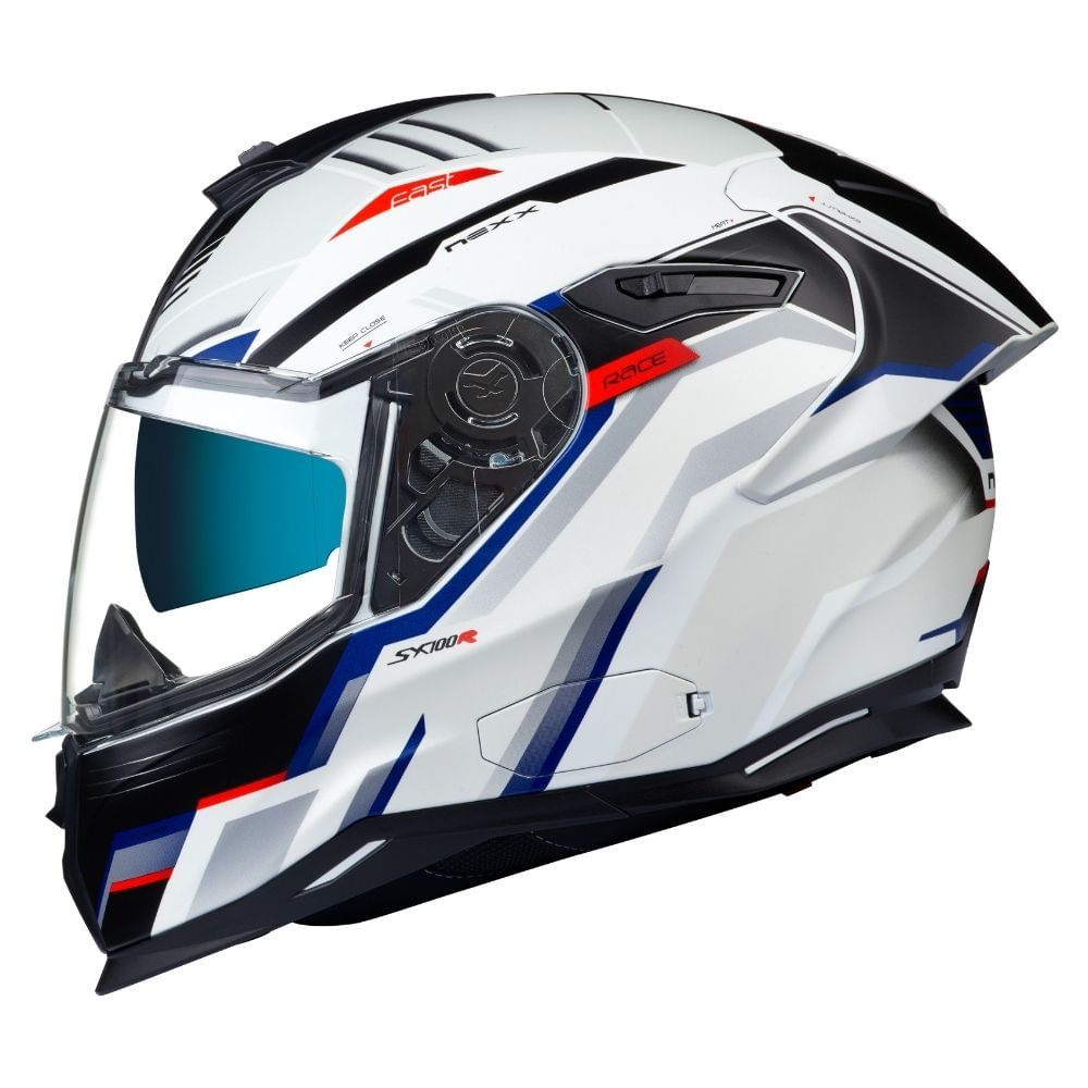 Capacete-Nexx-SX100R-Gridline-Branco-Azul-Fosco