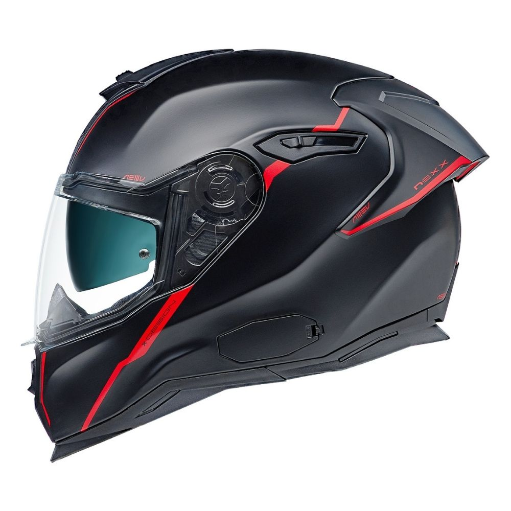 Capacete-Nexx-SX100R-Shortcut-Preto-Vermelho-Fosco